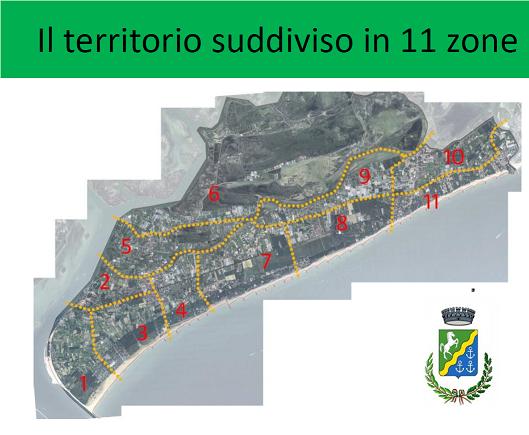 Territorio di Cavallino diviso in 11 zone